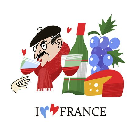 I love France. A Frenchman in a black beret drinks wine. A bottle of French wine, a bunch of grapes and cheese. Vector illustration hand drawn on white background. Ilustrace