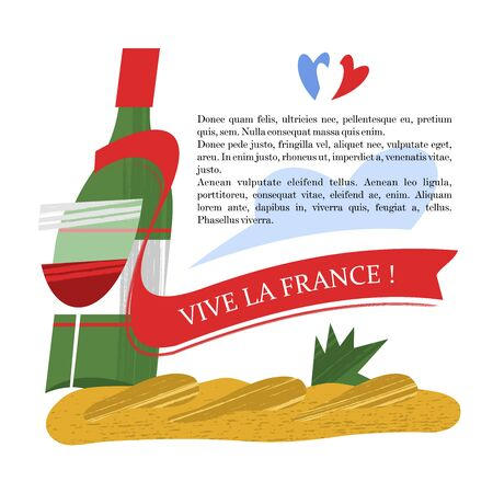 A bottle of wine and a French baguette. The inscription on the red ribbon glory of France. Vector illustration on white background.
