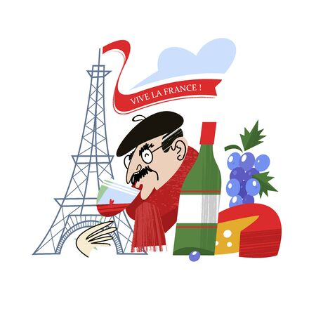 Viva France. Eiffel tower. Frenchman drinks wine. Vintage hand drawn postcard, vector illustration. On white background.
