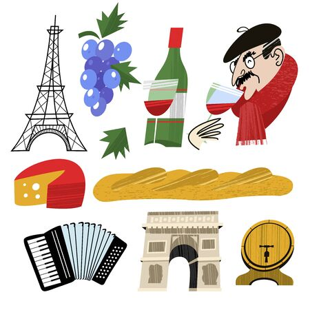 A bottle of wine, cheese, French baguette and a bunch of grapes. A Frenchman in a black beret drinks wine. Eiffel tower and arc de Triomphe. Accordion and wine barrel. A large set of vector images about France. Vector illustration on white background.