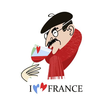 I love France. Frenchman drinks wine. Vintage hand drawn postcard, vector illustration. On white background.