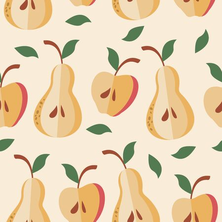 Funny summer seamless pattern on light background. Bright colorful juicy apples and pears. Vector illustration