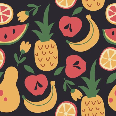 Funny summer seamless pattern on black background. Bright colorful juicy tropical fruits. Vector illustration. Ilustrace