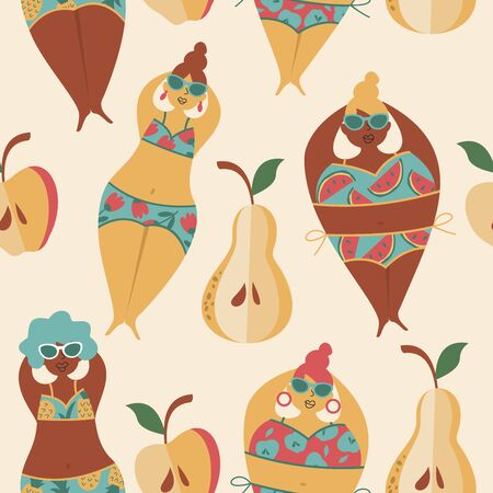 Funny summer seamless pattern. Women in swimsuits on the beach. Vector illustration in cartoon style. Light background. Ilustrace