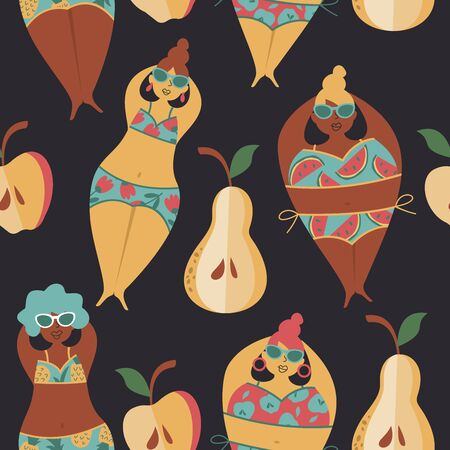 Funny summer seamless pattern. Women in swimsuits on the beach. Vector illustration in cartoon style. Dark background. Zdjęcie Seryjne - 129241020