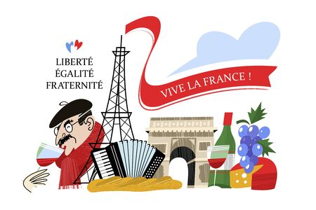 Freedom, equality, fraternity. Viva France. Eiffel tower. Frenchman drinks wine. Vintage hand drawn postcard, vector illustration. On white background.
