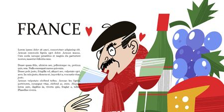 I love France. Frenchman drinks wine. Bottle of wine and cheese. Vintage hand drawn postcard, vector illustration. On white background. Ilustrace