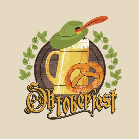 The emblem of the Oktoberfest beer festival. A large beer mug, a Tyrolean hat and a traditional German pretzel. The inscription in Gothic letters. Hand drawn illustration.