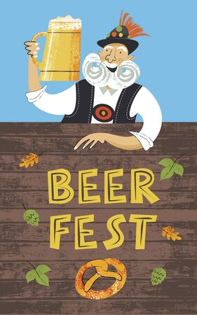 Poster beer festival Oktoberfest. An elderly man with a large mustache in a Tyrolean hat with a large beer mug. Hand drawn vector illustration.