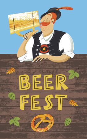 Poster beer festival Oktoberfest. German man in a Tyrolean hat drinking beer from a large mug. Hand drawn vector illustration. Illustration