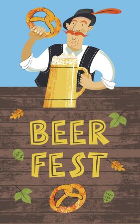 Poster beer festival Oktoberfest. A German man in a Tyrolean hat with a beer and a traditional German pretzel. Hand drawn vector illustration.