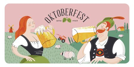 Poster beer festival Oktoberfest. A girl and a man in German national clothes drink beer on the background of a rural landscape. Vector hand drawn illustration with flat textures.