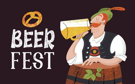 Oktoberfest. Beer festival in Germany. Vector flat illustration with textures. A man in a Tyrolean hat drinking beer near a beer barrel.