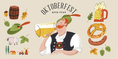 Oktoberfest. Beer festival in Germany. Vector flat illustration with textures. A man in a Tyrolean hat drinking beer.