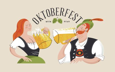 Poster beer festival Oktoberfest. A girl and a man wear traditional German clothes. They drink beer from large mugs. Hand drawn vector illustration. There is space for text.