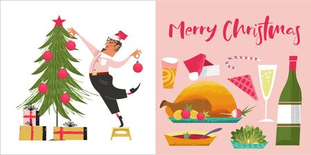 Merry Christmas. Cheerful greeting card. Set of vector decorations for Christmas tree and holiday food, Turkey, wine, vegetables. Illustration with unique hand drawn texture. Illustration