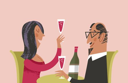 Romantic dinner together. Man and woman drink wine. Vector illustration with unique hand drawn texture. Illustration
