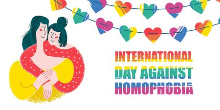 International day against homophobia. Happy lesbian couple. Decoration of rainbow hearts. Vector illustration.