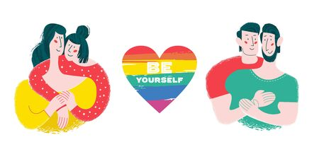 Be yourself. Vector illustration, poster about LGBT rights. A lesbian and gay couple in love. In the center of the composition is a rainbow heart.