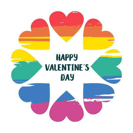 Rainbow flower from the different hearts of the LGBT community. Happy Valentines day. Colorful vector illustration, greeting card, emblem on white background.