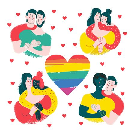 Happy gay and lesbian couples. In the center of the composition the rainbow heart is a symbol of the LGBT community. A set of elements to create a design on the theme of LGBT. Illustration