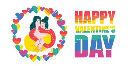Happy Valentines day. Vector greeting card on white background. Cute girls, a couple of lesbians in a frame of rainbow hearts. Cute illustration of love.