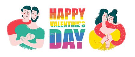 Happy Valentines day. Vector illustration, poster, LGBT greeting card. Happy gay and lesbian couples.