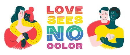 Love sees no color. Vector illustration, LGBT poster on white background. Two happy gay and lesbian couples. People of different colors.