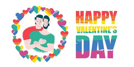 Happy Valentines day. Vector illustration on white background. Gay couple of different races hugging in a frame of rainbow hearts.