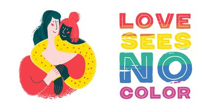 Love sees no color. Rainbow lettering is an LGBT symbol. Happy lesbian couple, white and black girls. Isolated on white background. Illustration