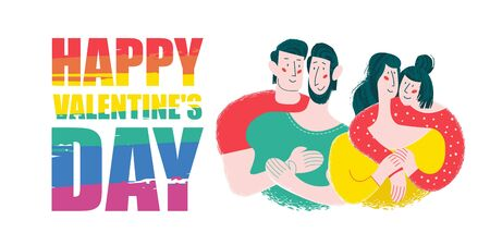 Happy Valentines day. Vector greeting card with two gay and lesbian couples. Rainbow lettering is an LGBT symbol.