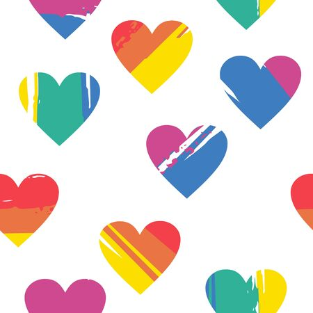 Rainbow heart is an LGBT symbol. Seamless pattern of multicolored rainbow hearts on white background. Vector seamless illustration. Illustration