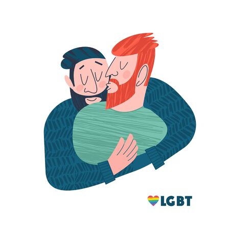 Vector illustration of happy homosexual men couples.