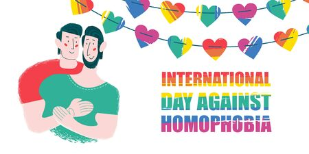 International day against homophobia. Happy gay couple. Decoration of rainbow hearts. Vector illustration. Illustration