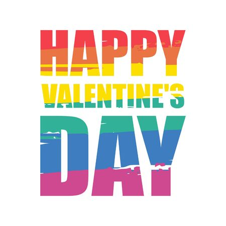 Happy Valentines day. Rainbow writing. The symbol of the LGBT community. Isolated on white background.