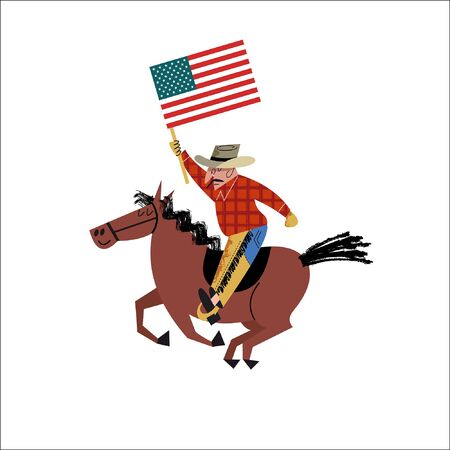 Cowboy riding a horse with an American flag in his hand. Vector illustration on white background. Flat cartoon style with hand drawn textures.