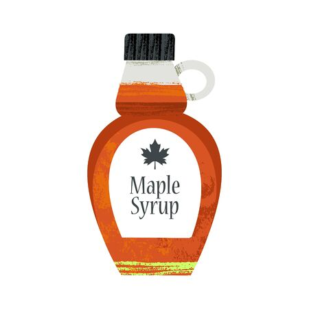 A bottle of maple syrup. Vector illustration on white background with unique hand drawn vector textures. Çizim
