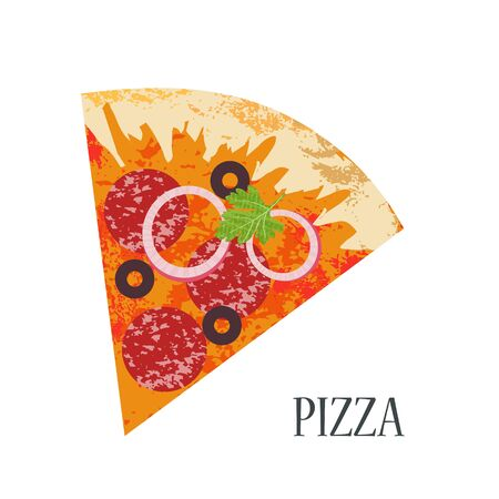 Slice of pizza with salami. Vector illustration on white background. Flat style with unique hand drawn vector textures