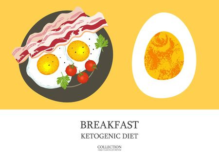 Breakfast. Great Breakfast for a ketogenic diet. Bacon and eggs. Vector illustration with unique hand drawn texture.