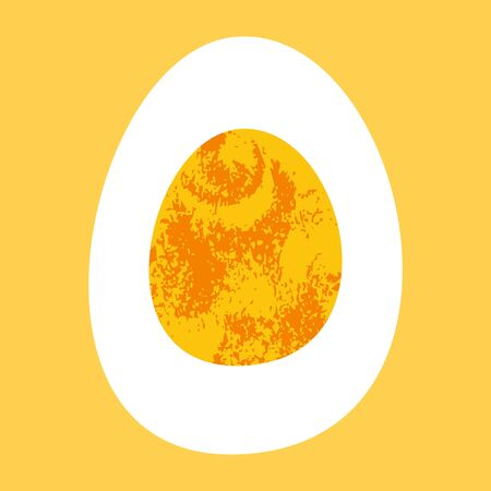 Half a boiled egg. Vector illustration in flat style in unique hand drawn texture. On yellow background. Healthy and tasty food.