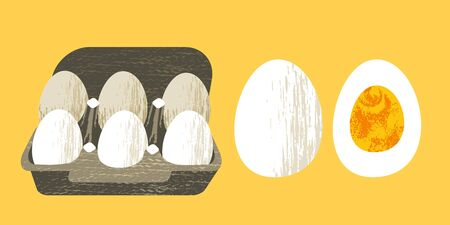 Set of 6 fresh eggs in a cardboard box. Half a boiled egg. Healthy and tasty food. Vector illustration on yellow background with unique hand drawn vector texture. Flat style. Ilustrace