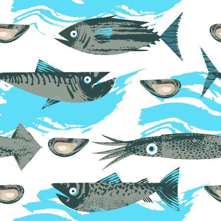 Modèle sans couture. Illustration vectorielle sur le thème de la vie marine. Divers poissons, calmars et crustacés. Illustration avec une texture dessinée à la main de vecteur unique. Vecteurs