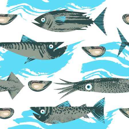 Seamless pattern. Vector illustration on the theme of marine life. Various fish, squid and shellfish. Illustration with unique vector hand drawn texture.