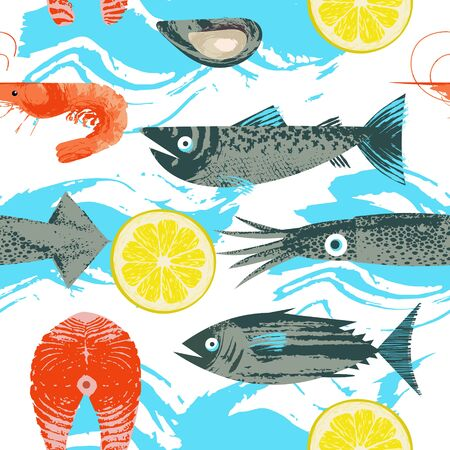 Seamless pattern. Vector illustration on the theme of seafood. Various fish, squid, shrimp and lemon slice. Illustration with unique vector hand drawn texture.