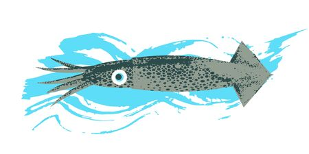 Marine life. Seafood. Kalmar. Vector illustration on white background with blue texture wave. Illustration with unique hand drawn texture.