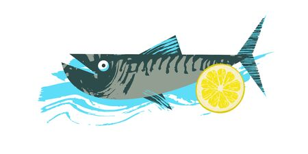 Fish. Seafood. Mackerel with a slice of lemon. Vector illustration with unique hand drawn texture.