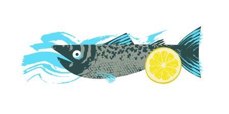 Fish. Seafood. Salmon with lemon slice. Vector illustration with unique hand drawn texture.
