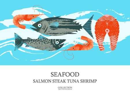 Seafood. Poster featuring tuna, shrimp, mackerel, salmon and salmon steak. Illustration with unique vector hand drawn textures. Ilustrace