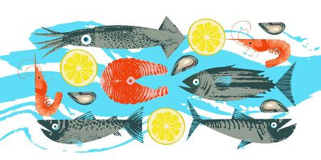 Seafood. Poster featuring tuna, shrimp, mackerel, squid, oysters, salmon and salmon steak with a slice of lemon. Illustration with unique vector hand drawn textures.