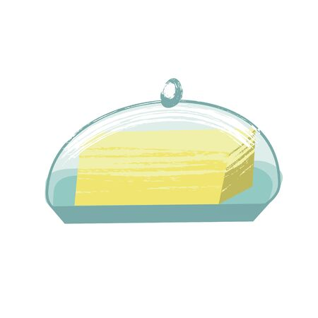 Butter. Vector illustration in flat style with unique hand drawn texture. On white background. 向量圖像